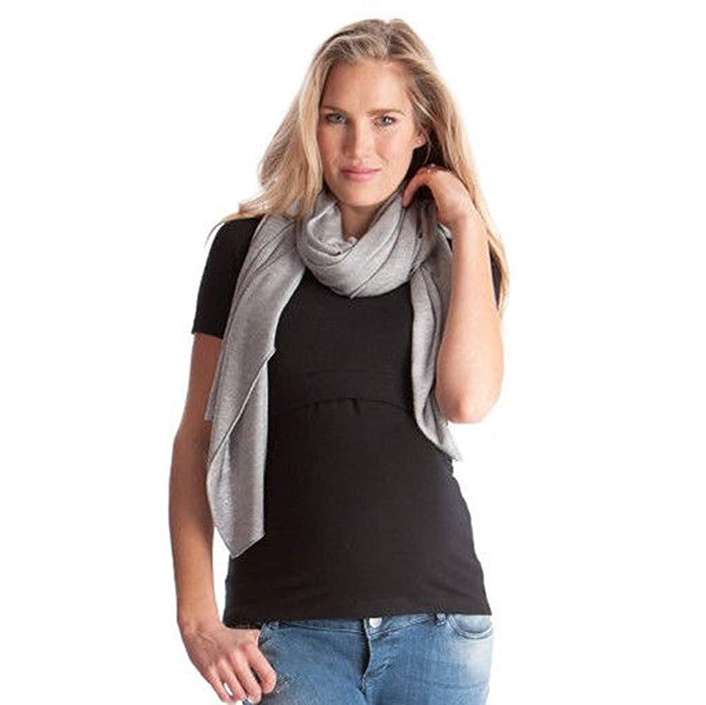 Usstore  Maternity Women Multifunction Shawl Tops Pregnant Nursing T-Shirt Long-Sleeved Button Scarf Baby Blanket