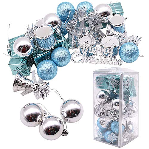 LoveInUSA 32 PCS Mixed Christmas Ball Pendant Xmas Tree Ornaments Decorations Set(Blue & Silver) (Sale Wreaths For White Christmas)