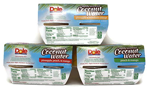 Variety Pack - Dole Fruit Cups In Slightly Sweetened Coconut Water (16 Oz) 4 Pk - Pineapple Peach & Mango, Peach & Mango, Pineapple & Mandarin Orange