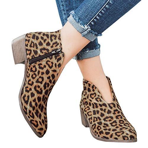 (Womens Cute Western Cowboy Bootie Pointed Toe Slip On Low Heel Ankle Boot)