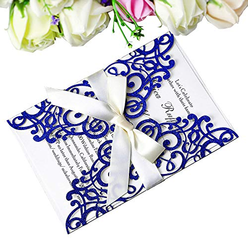 PONATIA 25 PCS Laser Cut Bling Invitations Card With Ribbon For Wedding Bridal Shower Engagement Birthday Graduation Invitation Cards (Blue Glitter)