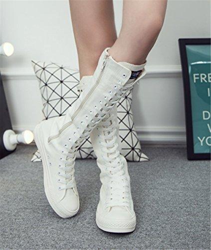 En Montantes Fermeture Mode Toile Au Botte Éclair Genou Baskets Rivet Femme Classique Avec Blanc Wealsex Lacets PYqET