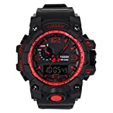 AMPM24 OHS240 LCD Mens Digital Analog Watch Black Rubber Band
