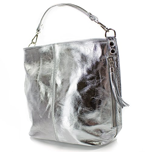 Echt Leder Damen Tasche Handtasche Ledertasche Schultertasche silber