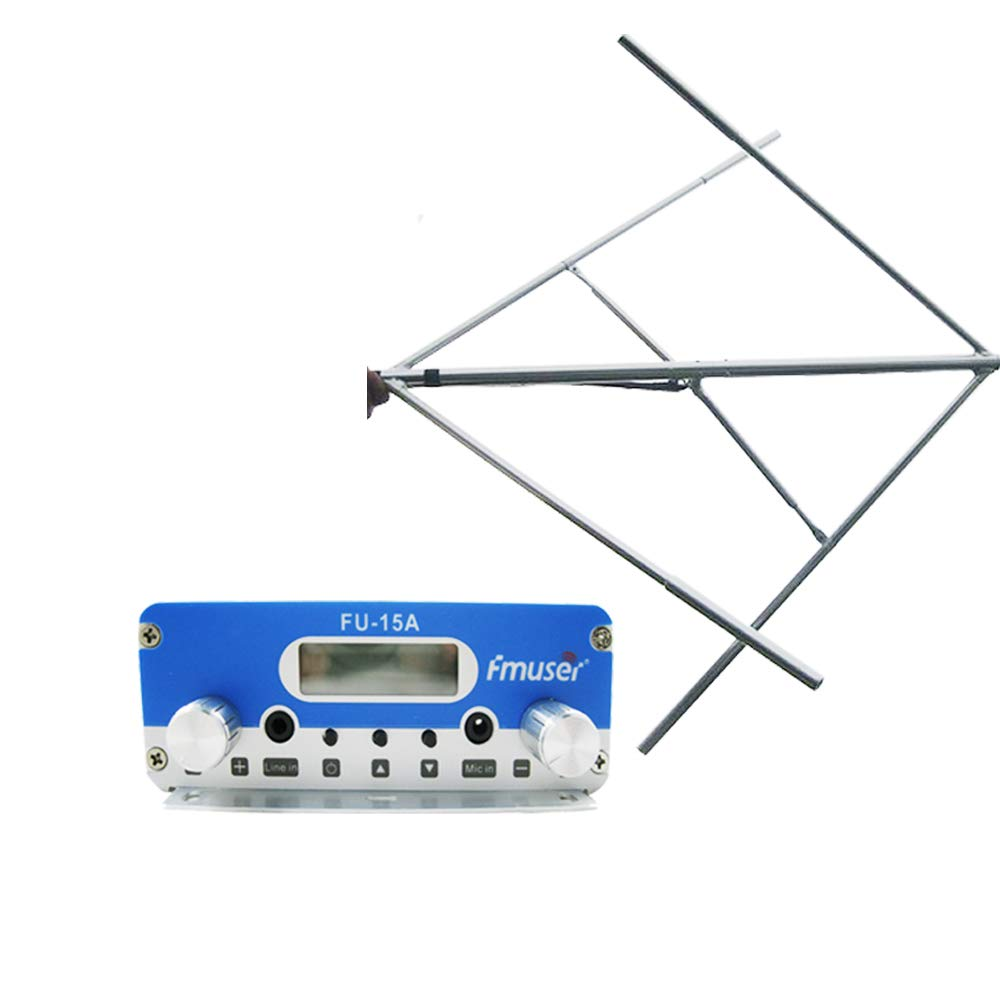 FMUSER FU-15A 15W FM Radio Transmitter Set 87-108mhz, LCD Display Stereo Sound Long Range Radio Broadcast with Circular Polarized Jampro Antenna Cable Set, for Church Home Car Community Radio Station by fmuser