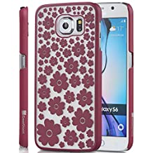 GreatShield Samsung Galaxy S6 Case [TACT Design][Ultra Slim Fit] Design Ultra Slim Fit Rubber Coating for Samsung Galaxy S6 (Marsala Red Blossom)