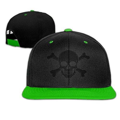 [Pirate Skull Hip Hop Flat Brim Cap Unisex Baseball Hat Casual Adjustable Snapback Cool Plain Trucker Hats For Dance,Neo-Jazz,Street Jazz,Reggea] (Pirate Tooth Cap With Skull)