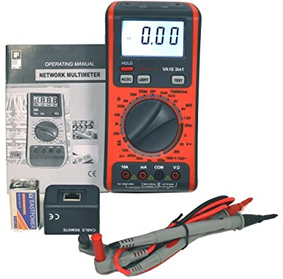 V&A Digital Multimeter with USB and Telephone Line Cables Testers