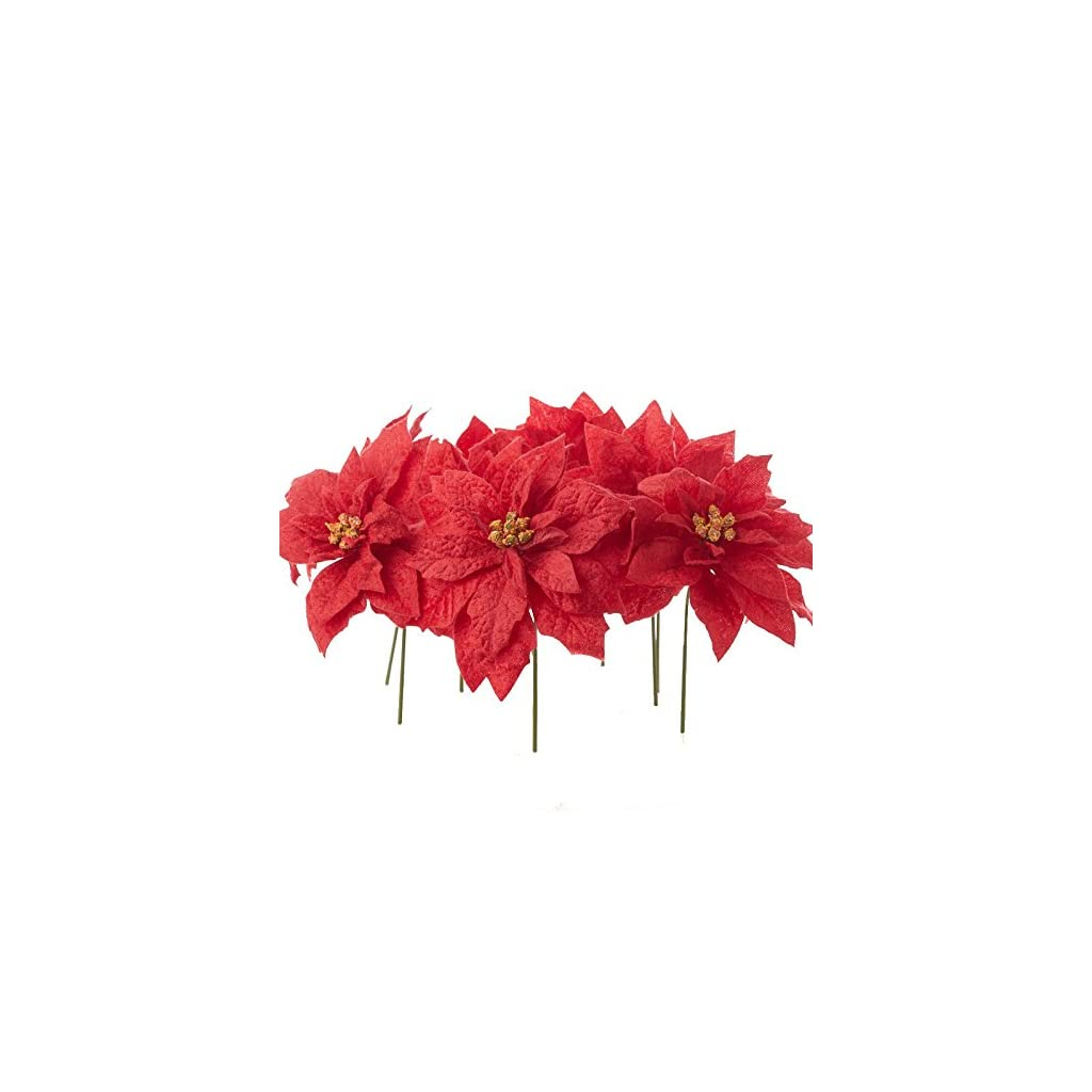 Factory Direct Craft 12 Red Velvet Leaf Poinsettia Holiday Picks for Christmas Home Décor