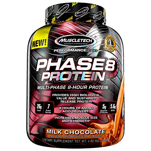 Whey Protein Powder | MuscleTech Phase8 Protein Powder | Whey & Casein Protein Powder Blend | Slow Release 8-Hour Protein Shakes | Muscle Builder for Men & Women | Chocolate, 4.6 lbs (50 Servings)