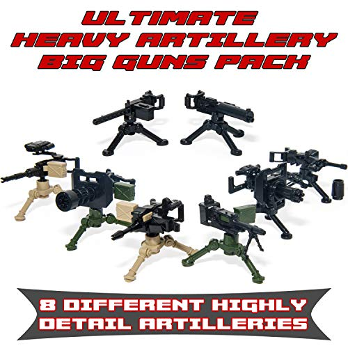 Ultimate Heavy Artillery Big Guns Pack - Military Army Weapons and Accessories Building Block Toy for Custom Bricks Minifigures