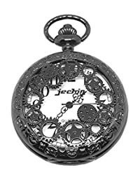 Jechin Steampunk Skeleton Big Face Dial Copper Pocket Watch with Chain and Gift Box (Black)