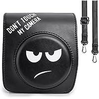 CAIUL Groovy Emoji PU Leather Fuji Mini Case Bag for Fujifilm Instax Mini 90 Camera - Black, DONT TOUCH MY CAMERA