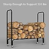 Finether Firewood Rack Log Rack|4ft Indoor/Outdoor Firewood Firewood storage log holder with wheels,for Hearth, Fireplace, Wood-Stove, Black