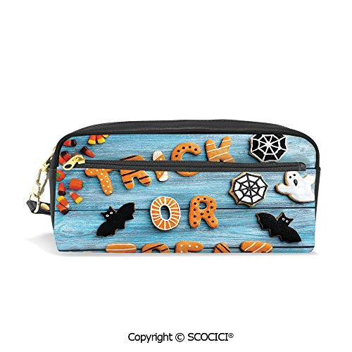 Students PU Pencil Case Pouch Women Purse Wallet Bag Trick or Treat Cookie Wooden Table Bat Web Halloween Waterproof Large Capacity Hand Mini Cosmetic Makeup Bag]()