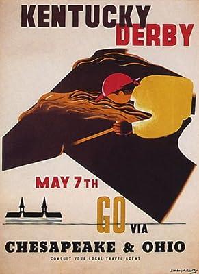 Kentucky Derby Go Via Chesapeake & Ohio Horse Race Vintage Poster Repro