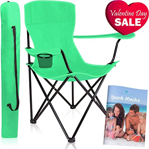 """Thermalabs Folding """"Iris"""" Beach Chair: Enjoy the Park, Garden, and Pool Side. Portable, Stylish Folding Seat with Armrests, Robust and Comfortably Padded. Green price tips cheap"""