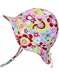 Kids Sun Hat with Chin Strap, Drawstring Adjust Head...