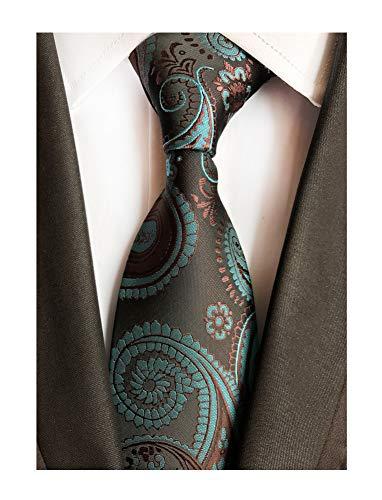 Mens Silk Brown Teal Blue Tie Summer Cool Gentleman Party Self Cravat uk Necktie
