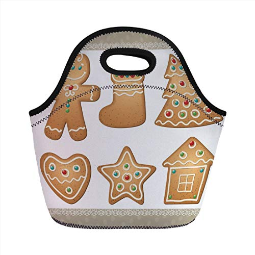 Lunch Bag Portable Bento,Gingerbread Man,Cute Pastry Design Graphic Cookies in Different Shapes Tasty Sweet Goodies,Multicolor,for Kids Adult Thermal Insulated Tote Bags ()