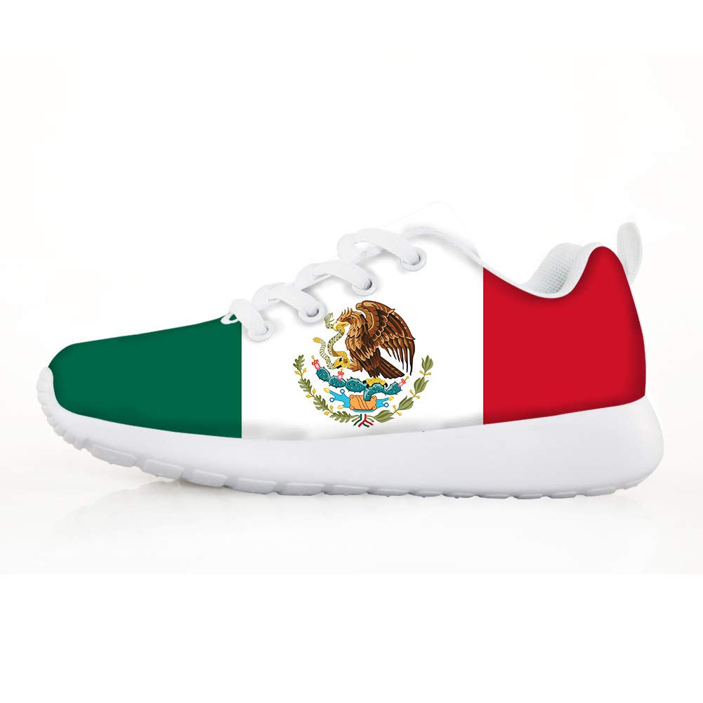 Owaheson Boys Girls Casual Lace-up Sneakers Running Shoes Mexico Flag