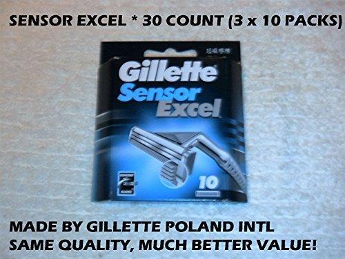 Mens Gillette Sensor Excel Refills - Gillette Sensor Excel - 30 Count (3 x 10 Pack)