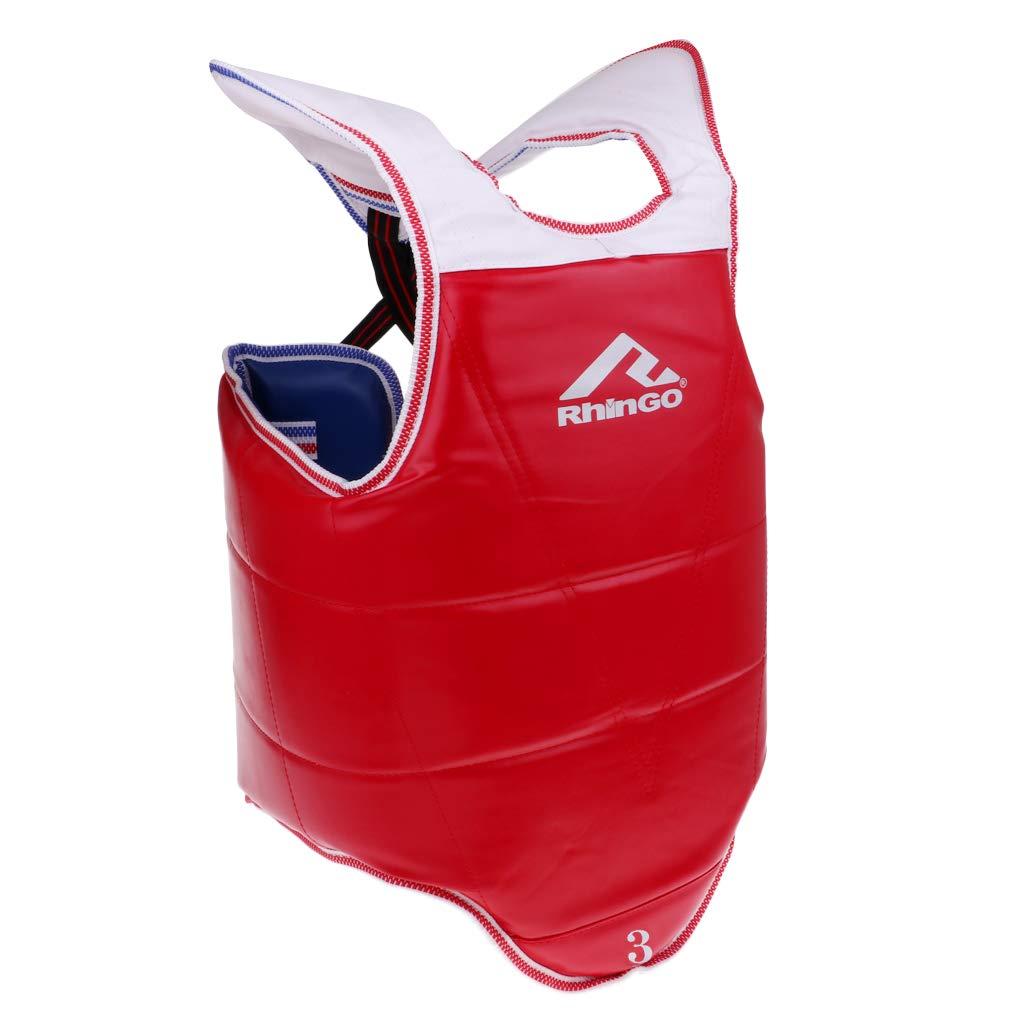 SM SunniMix 1ピース 軽量 丈夫 テコンドー 胸部ガード 胸部 ボディプロテクター ベスト アーマー ユニセックス キッズ ティーン 大人 ブルー レッド 赤+青 X-Large