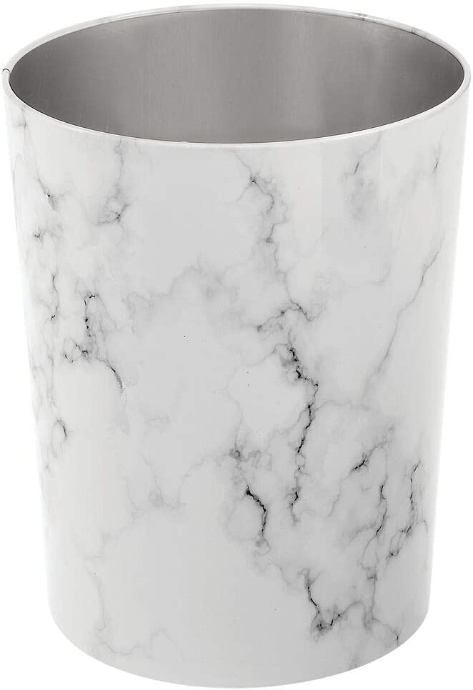 mDesign Round Metal Small Trash Can Wastebasket, Garbage Container Bin for Bathrooms, Powder Rooms, Kitchens, Home Offices - Durable Stainless Steel - Marble
