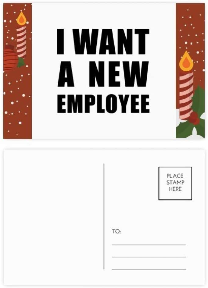 I Want A New Employee Christmas Candle Greeting Postcard Congrats Mailing Card