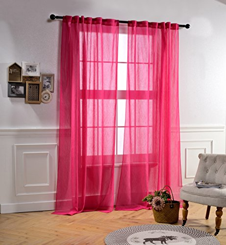 Mysky Home Back Tab and Rod Pocket Window Crushed Voile Sheer Curtains for Living Room, Fuschia Pink, 51 x 84 inch, (Set of 2 Crinkle Sheer Curtain Panels) (Pink Living Room)