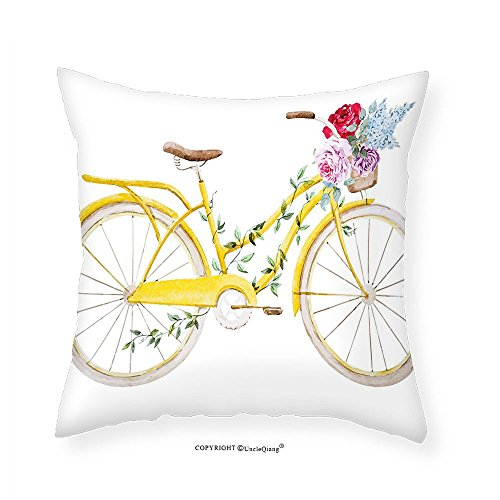 VROSELV Custom Cotton Linen Pillowcase Vintage Watercolor Style Effect Bicycle with Leaves and Flowers in the Basket Pattern for Bedroom Living Room Dorm White and Yellow 26