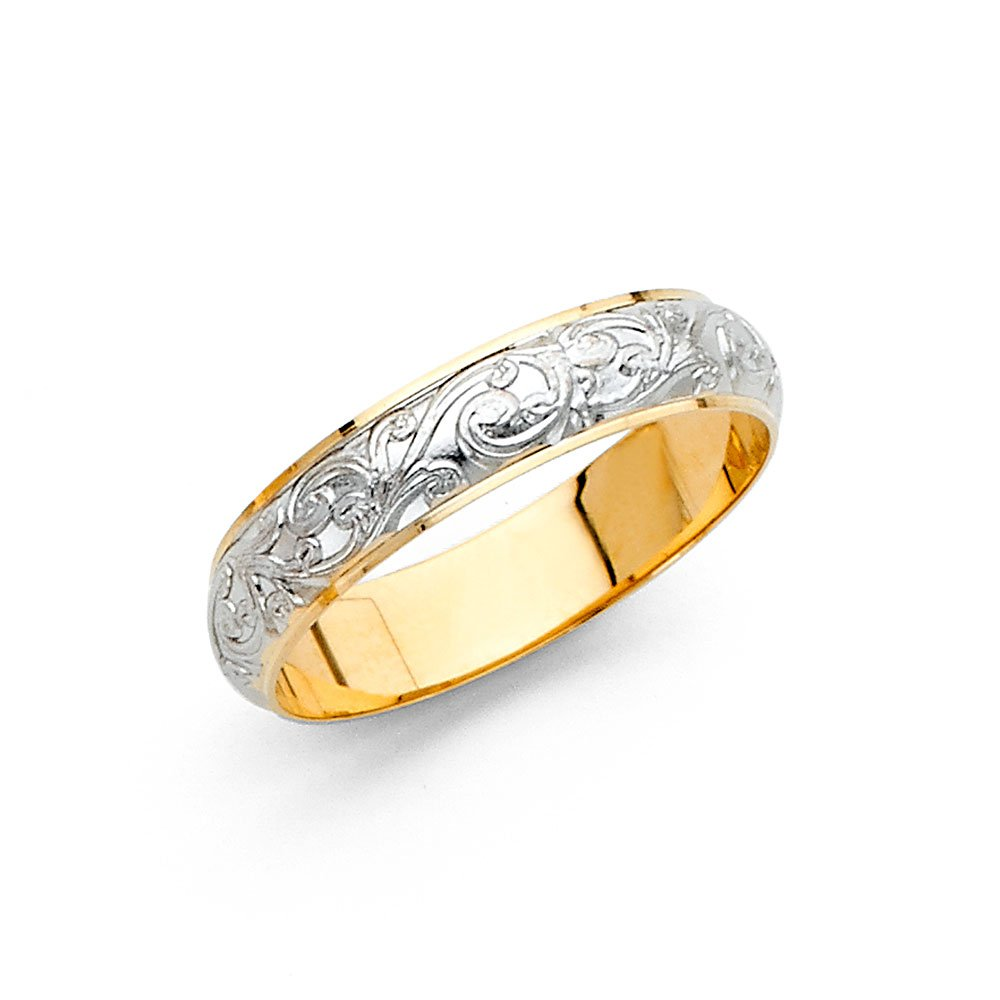Solid 14k Yellow White Gold Band Wedding Ring Filigree Dome Curve Two Tone Style Men Women 4 mm, Size 6.5 by GemApex
