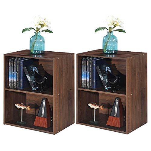 Giantex Bookshelf and Bookcase 2-Layer Storage Shelf, W Large-Capacity Open Storage Space, MDF P2 Veneer, for Living Room Bedroom Study Office Multi-Functional Furniture Display Cabinet Walnut, 2