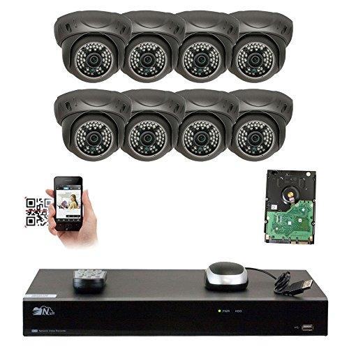 GW Security 8 Channel 5MP NVR IP Camera Network PoE Surveillance System with 8-Piece HD 1920P Weatherproof Dome Security Cameras