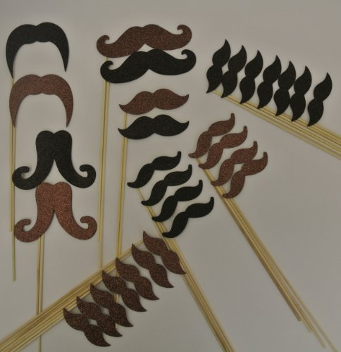 30 Pc Mustache on a Stick Photo Booth Props Black and Brown Glitter Foamy Mustache Bash Wedding Photo Booth Party Favor and Props