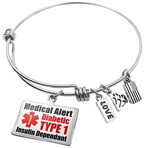 NEONBLOND Expandable Wire Bangle Bracelet Medical Alert Red Diabetic Insulin Dependant Type 1