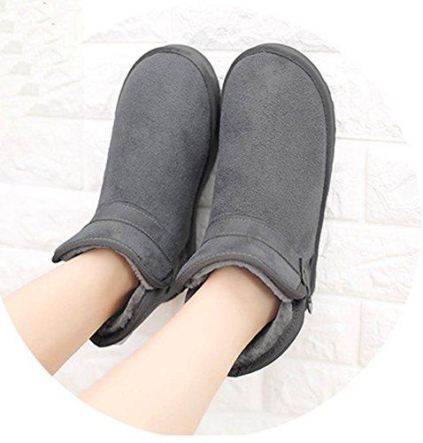 Aisun Womens Warme Casual Ronde Neus Gesp Platform Hoge Topjes Slip Op Flats Snow Booties Schoenen Grijs