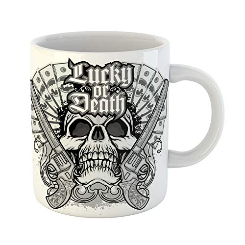 Emvency Coffee Tea Mug Gift 11 Ounces Funny Ceramic Pirate Gothic of Arms Skull and Guns Vintage Angel Gifts For Family Friends Coworkers Boss Mug ()