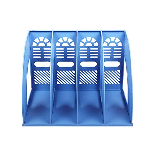 Whthteey 4 Compartment Desktop File Organizer Basket Plastic File Holders for Home Office School Blue by Whthteey (Image #3)