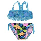 Real Love Big Girls Blue Floral Hawaii Overlaid 2 Pc Bandeau Swimsuit 14/16