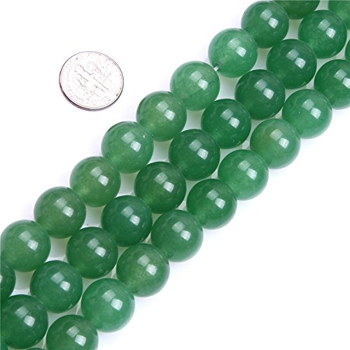 14mm Round Gemstone Green aventurine Jade Beads Strand 15 InchJewelry Making Beads