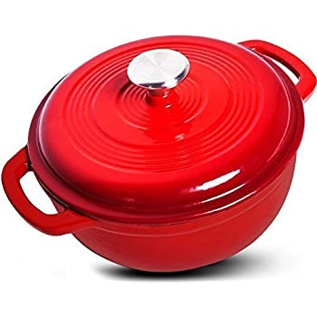 Enameled Cast Iron Dutch oven with Dual Handle and Cover Casserole Dish – Red, 6.2 Quarts - Utopia Kitchen