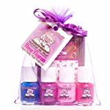 Nail Polish for Babies Piggy Paint Non-Toxic Nail Polish for Kids, Tiny Tiaras Gift Set/Royal Blue Glitter, Purple Shimmer, Neon Pink, Bright Pink/ Princess Nail Art, 0.25 Fluid Ounce