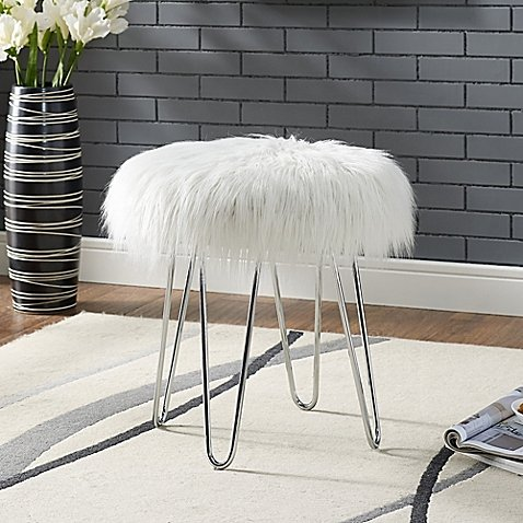 4 Chrome Splayed Legs Faux Fur Ottoman in White