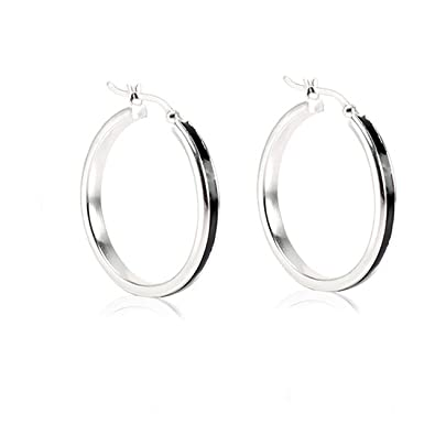 a9f6cb67603 Buy LeCalla Black Enamel Basic Silver Hoop Earrings Online at Low Prices in  India