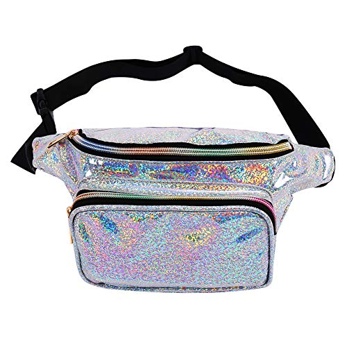 (Fashion Holographic Fanny Pack for Women Men-Waterproof Travel Waist Packs Bum Purse Bags for Rave,Festival,Hiking)