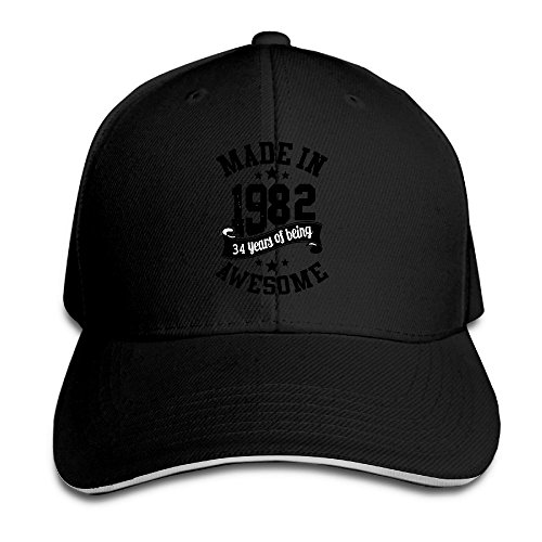 Price comparison product image Adults Made In 1982 Awesome 34th Birthday Adjustable Sandwich Hat Cap Black