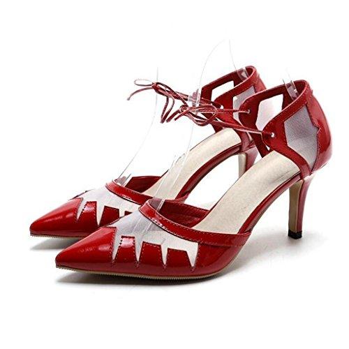de sandalias tacones Zapato Puntera de malla de W de amp;LM Red mujer genuino superficie de cuero altos Puntera de BqPtzPf