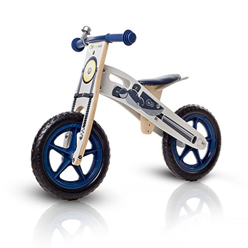 KinderKraft Runner Laufrad aus Holz mit Tasche und Klingel in 2 Farben (Motorrad)