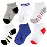 Luvable Friends 6 Pack No-Show Striped Socks, Boy-Striped, 0-6 Months